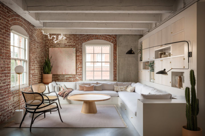 modern fresh happy living room with brick wall pearl loft