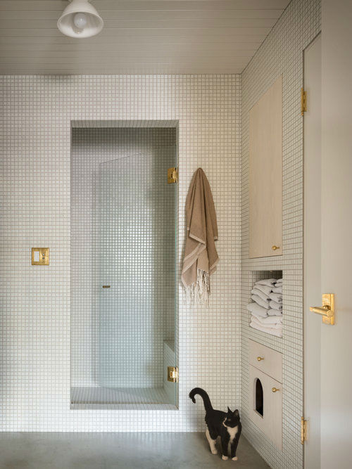 bathroom with built in walk in shower and built in cabinets pearl loft