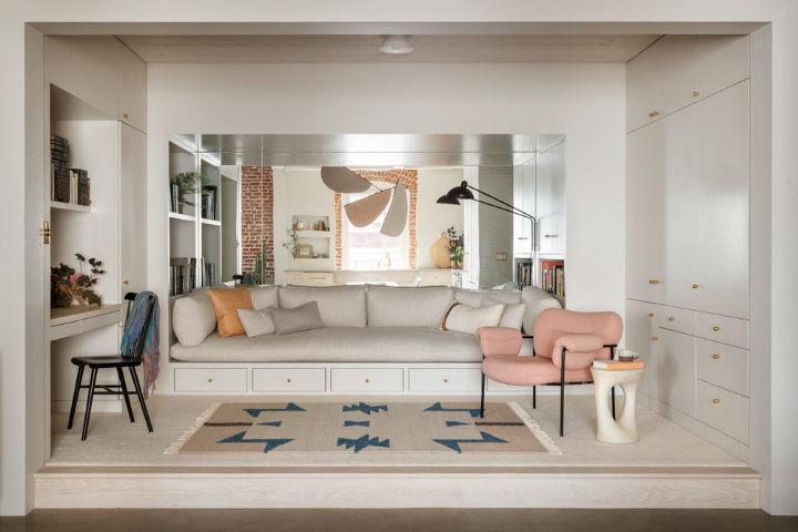 small fresh minimalist color pallete living room pearl loft