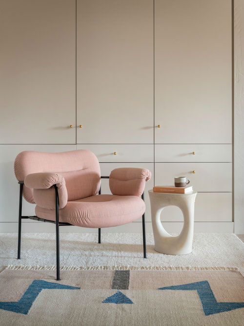 minimalist wardrobe and modern pink armchair pearl loft