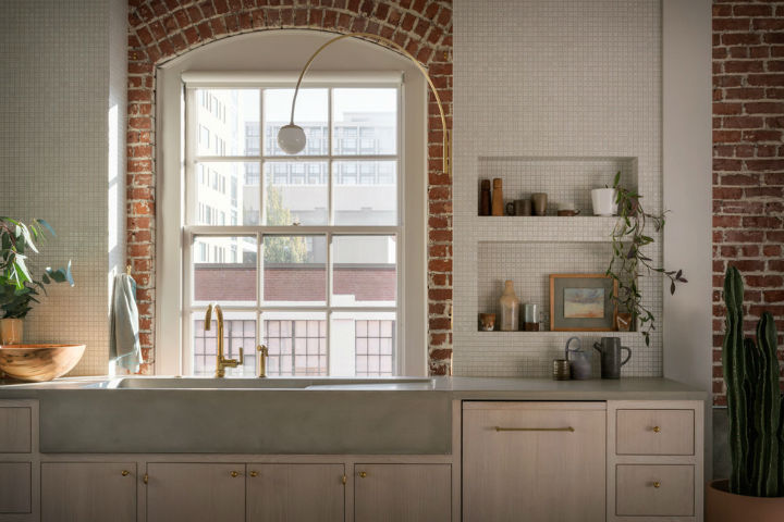 minimalist country kitchen with brick wall and grey concrete sink pearl loft