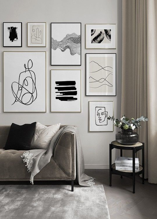 living room contemporary wall art gallery