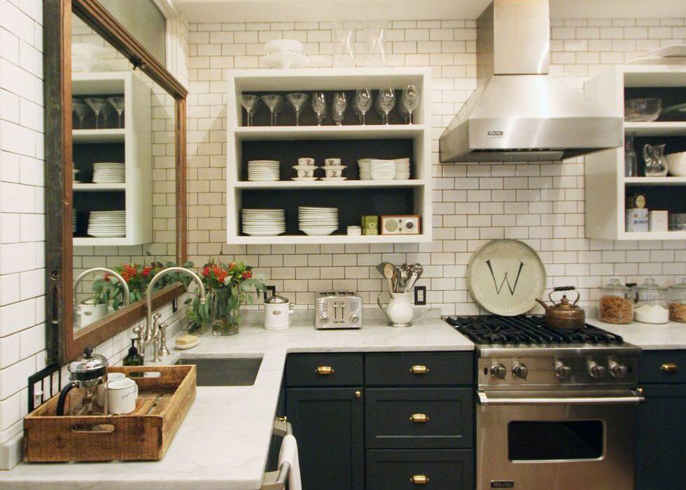 mirror over sink in kitchen