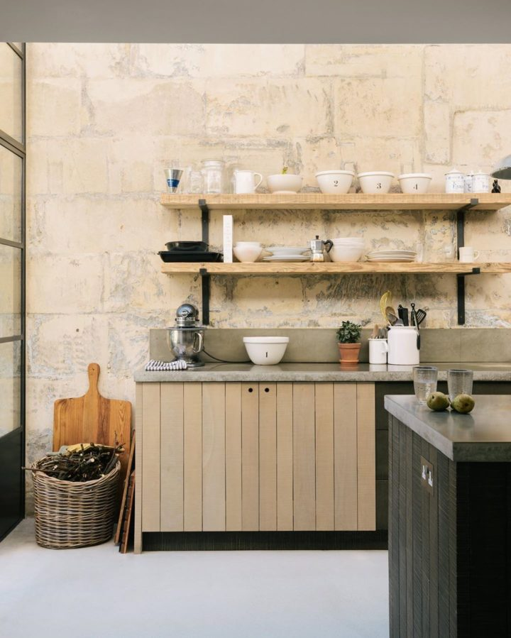 wooden open shelves