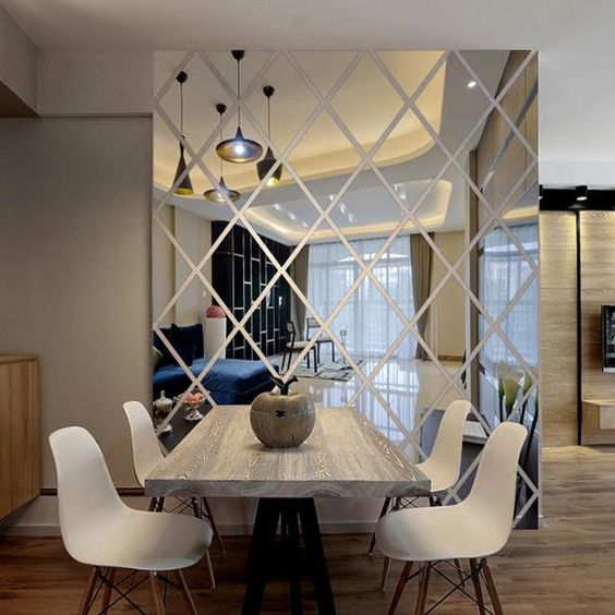 puzzle diamond mirror mural floor to ceiling dining room wall decoration