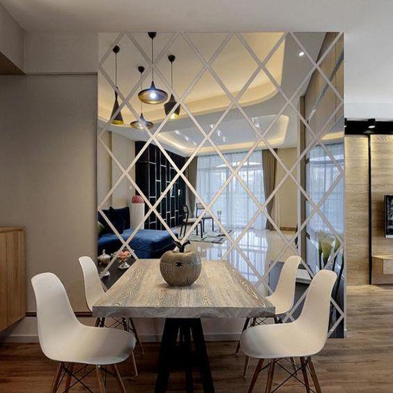 puzzle diamant miroir mural sol au plafond salle à manger décoration murale