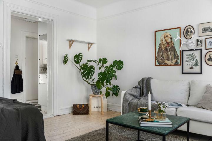 desain interior ruang tamu Skandinavia sederhana