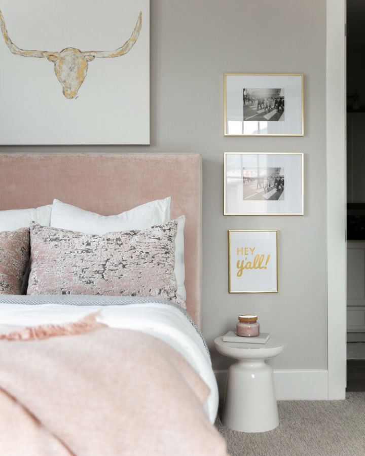 timeless grey and pink bedroom design