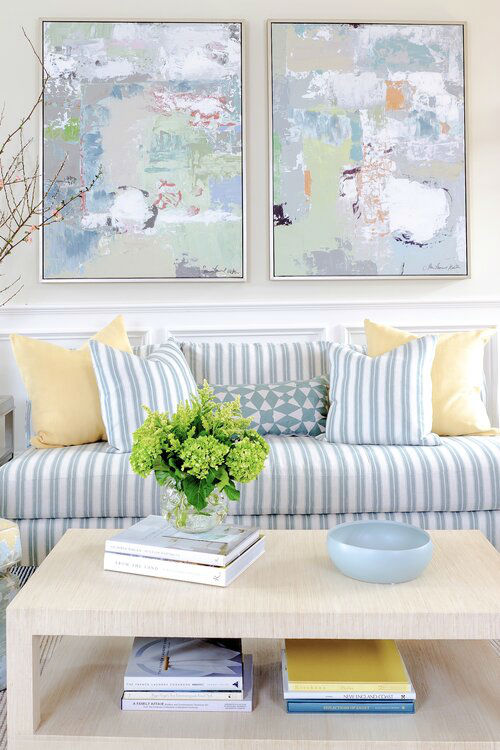 timeless fresh blue white and yellow living room