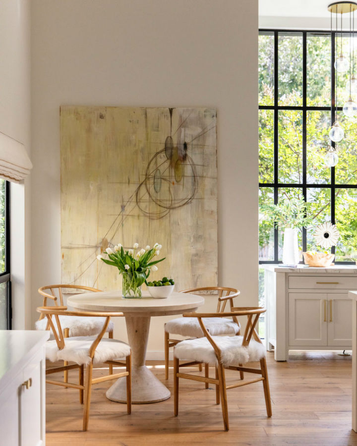 modern timeless dining room with round table
