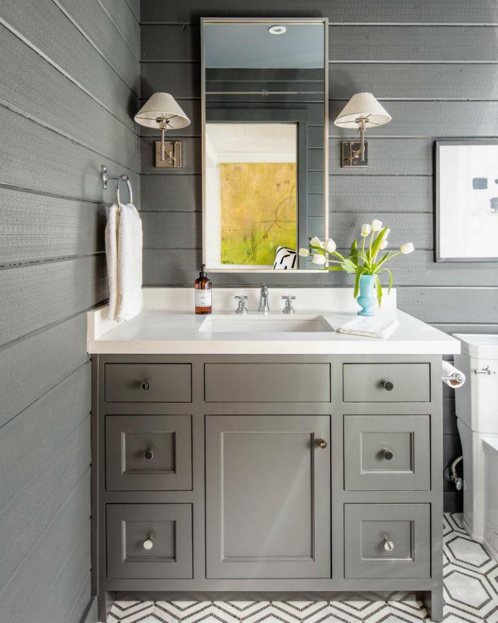 desain kesombongan kamar mandi abu-abu abadi