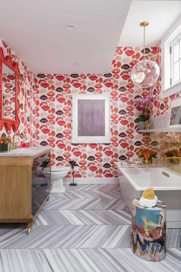 elegante banheiro withlips papel de parede