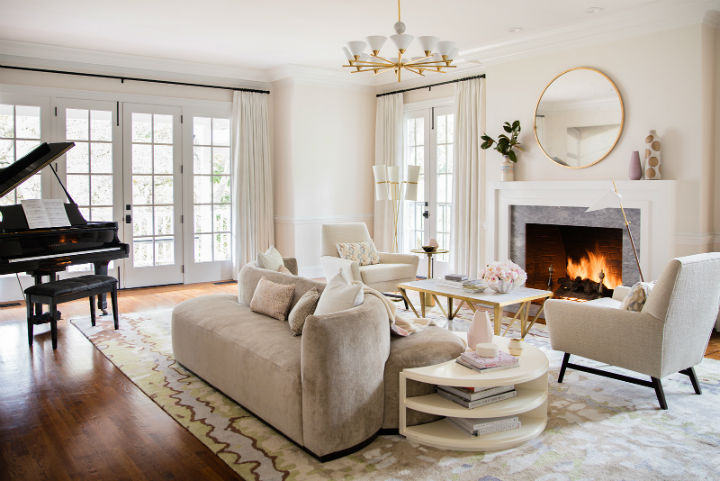 fresh elegant living room with fireplace
