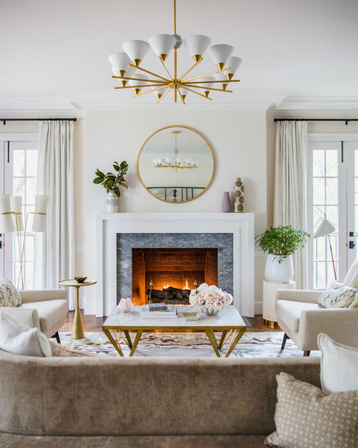 sala de estar elegante e fresca com lareira 2
