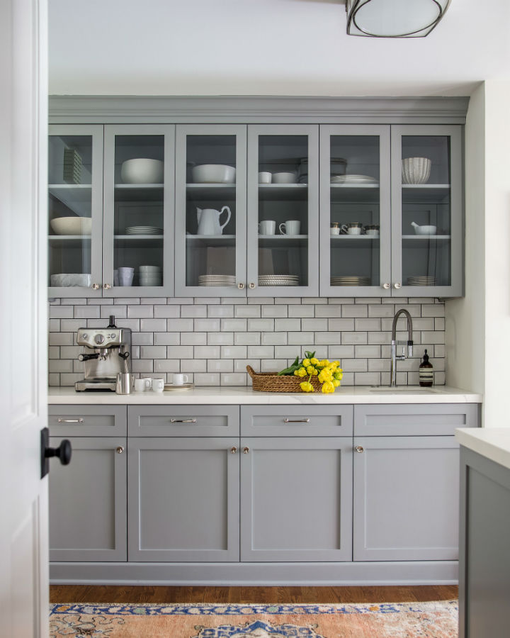 grey transitional small kitchen