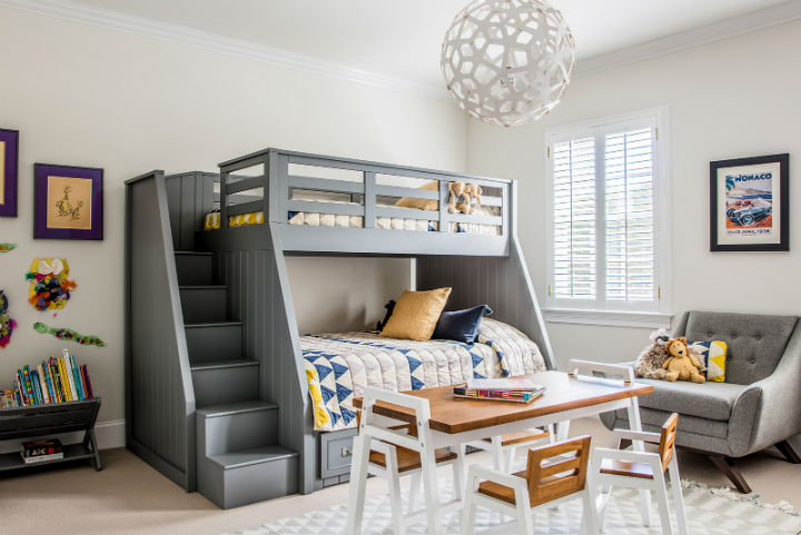 dark grey bunk beds