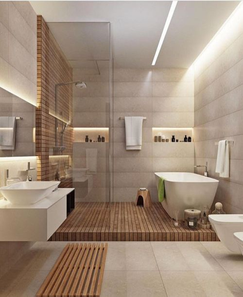 earth color warm modern bathroom design idea