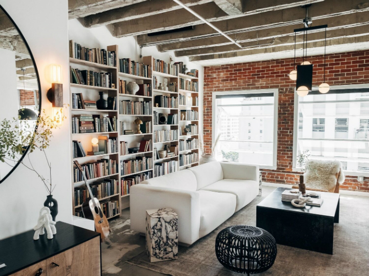 Modern Rustic Industrial living room with library