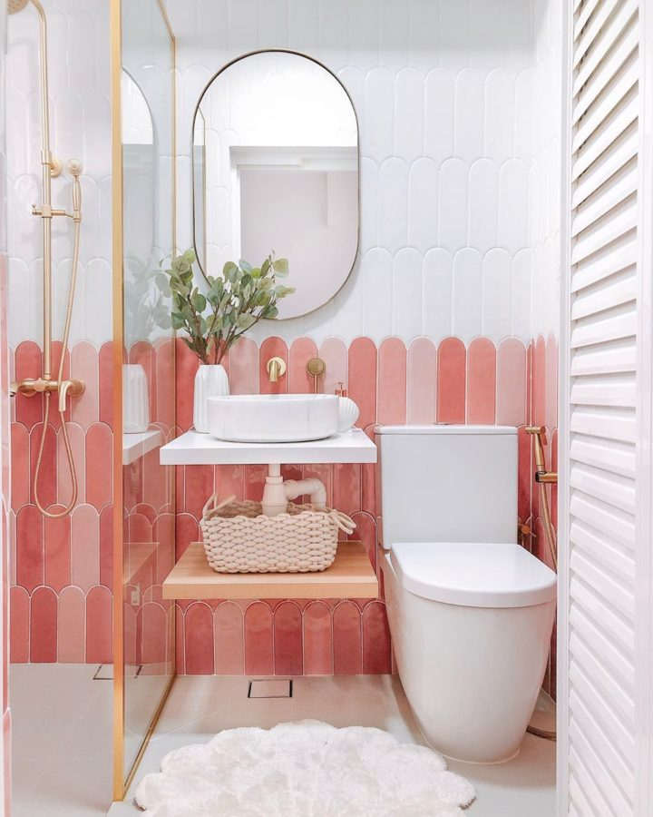 pink and white small instagram worthy bathroom