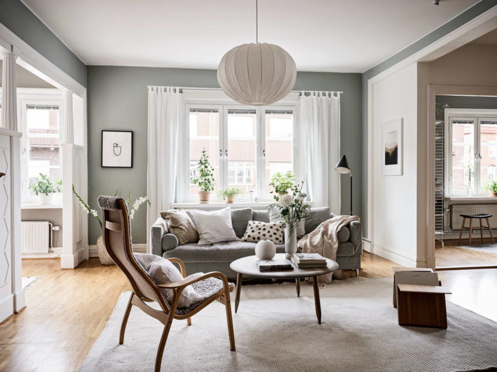 Charming Scandinavian living room With Romantic Decorating interior Style