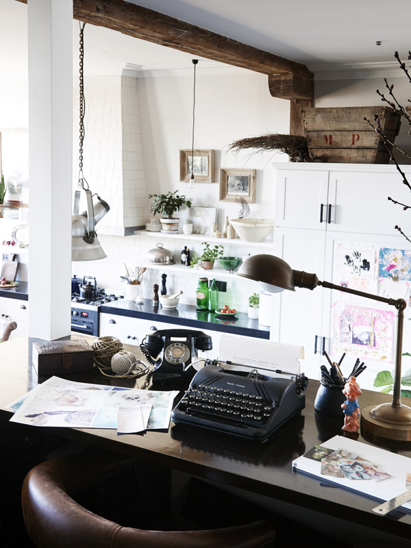 vintage home office overlooking the living room and kitchen