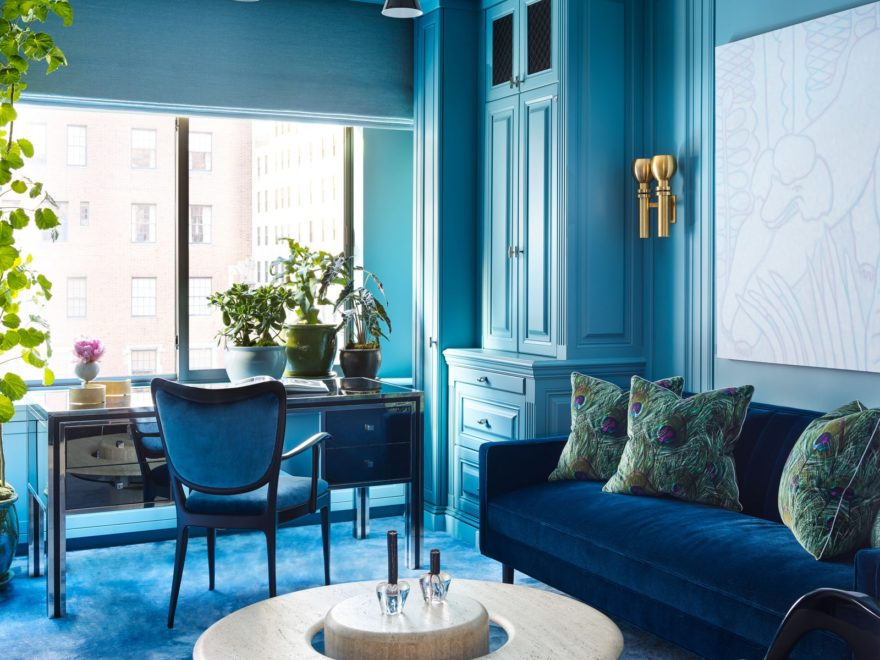 traditional formal blue paint living room idea