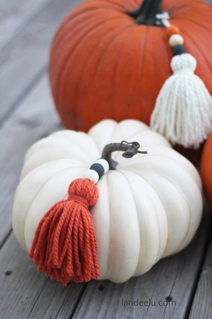 DIY boho Pumpkins with Tassels