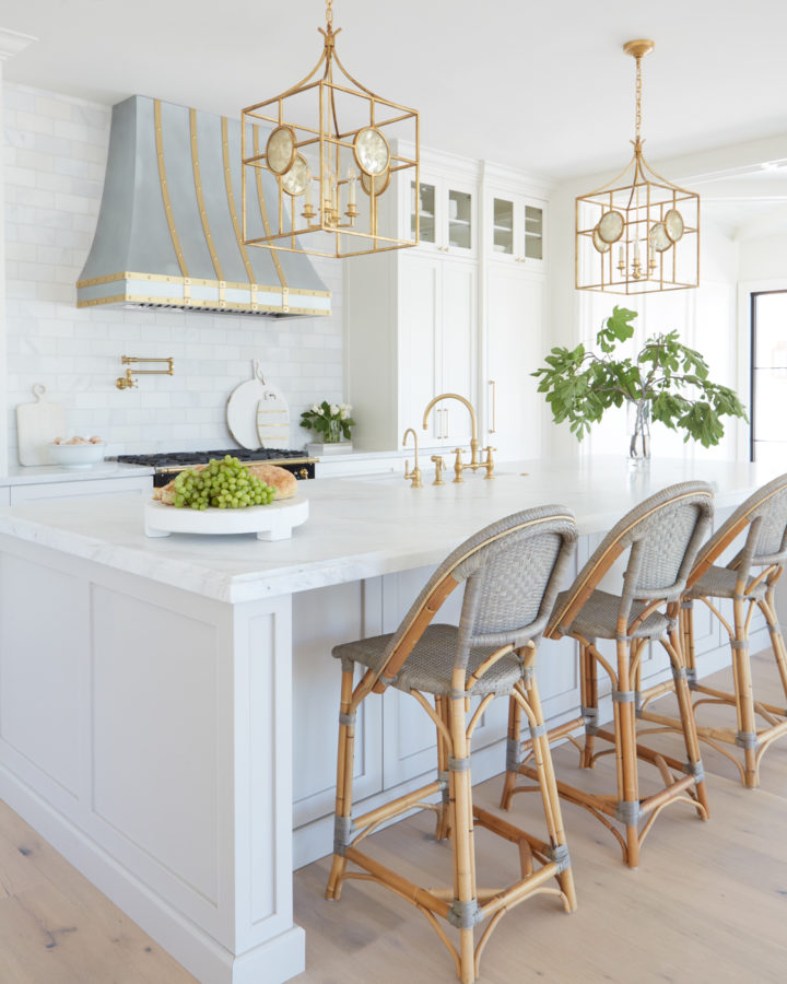 luxury white light grey and gold kitchen with islandd