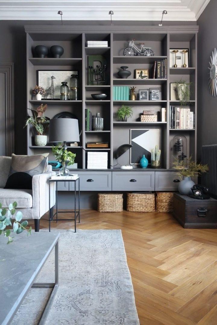 dark grey IKEA Billy bookcase