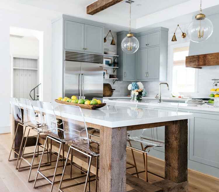light blue grey kitchen-with reclaimed wood island with white marble worktop and Clear Acrylic Stools