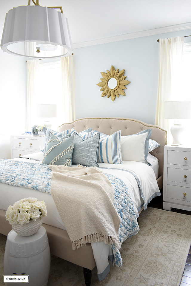 clam bedroom light blue paint color idea