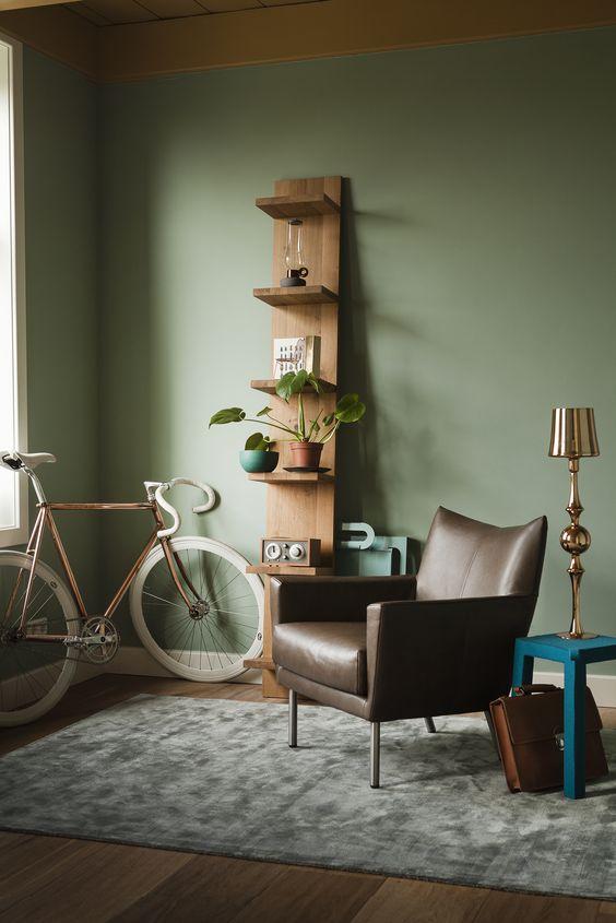 Pistachio and brown living room color scheme idea