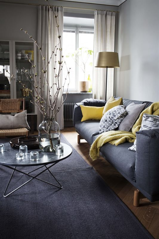 Light gray and bright yellow living room color scheme idea