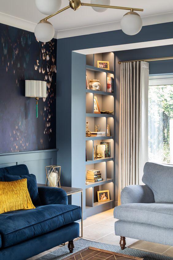 Powder blue and deep blue living room color scheme idea
