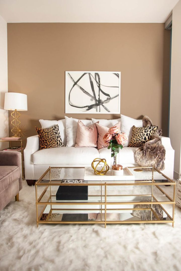 Cream and brown living room color scheme idea