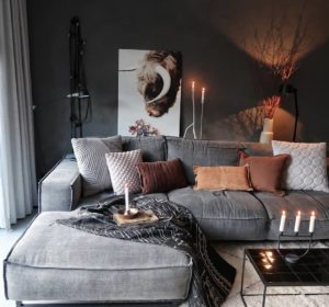 Grey brown and black living room color scheme idea