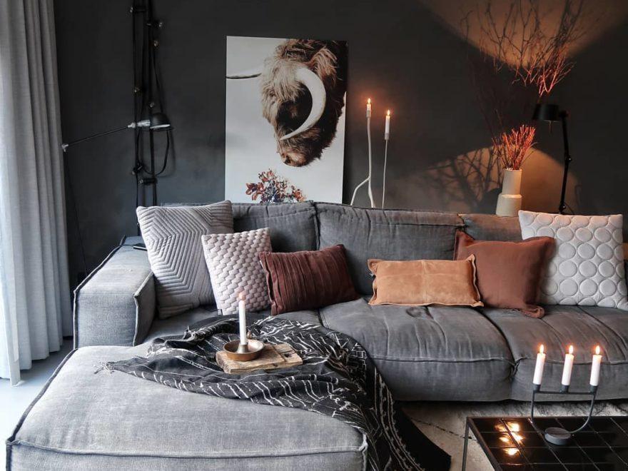 Grey brown and black living room color scheme idea