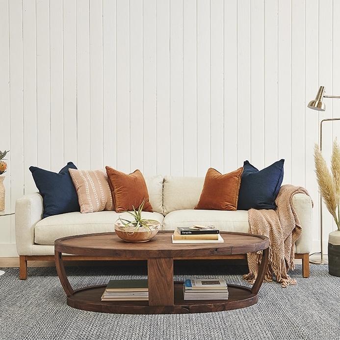 Indigo crisp white and rust living room color scheme