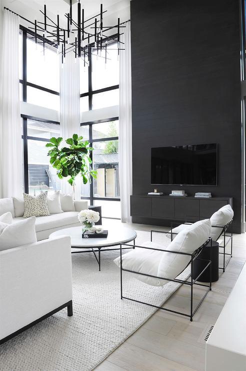 Black and white living room color scheme idea