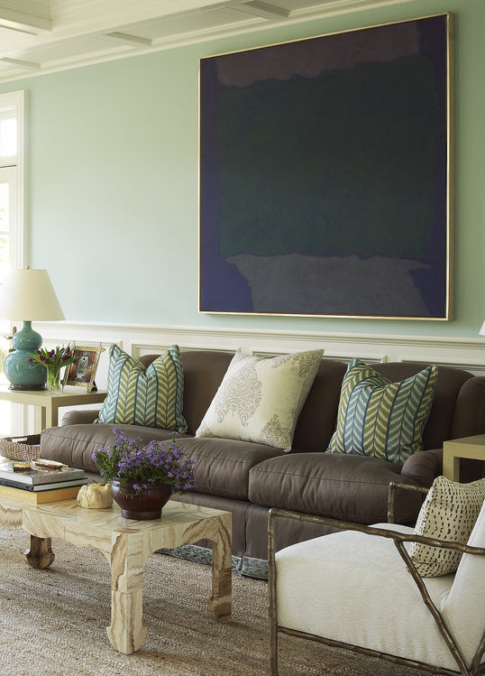 Mint green and brown living room color scheme