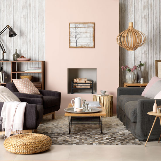 Dark gray and pastels living room color scheme idea