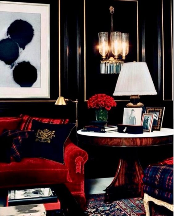 Red and black living room color scheme idea