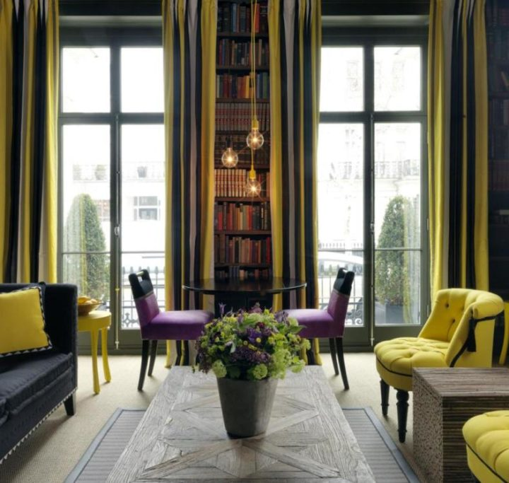 Lilac and yellow living room color scheme idea