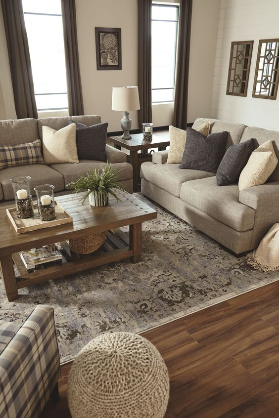 Cream and light browns living room color scheme idea