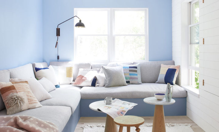 Pale blue and pastels living room color scheme idea
