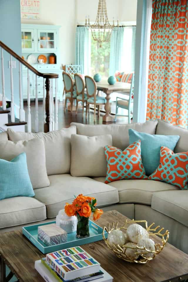 Coral and turquoise living room color scheme idea