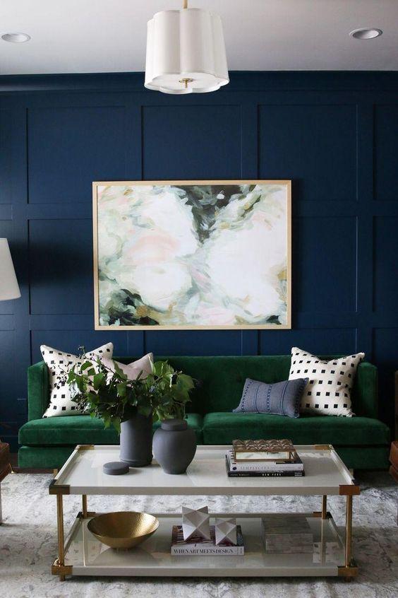 Olive and royal blue living room color scheme idea