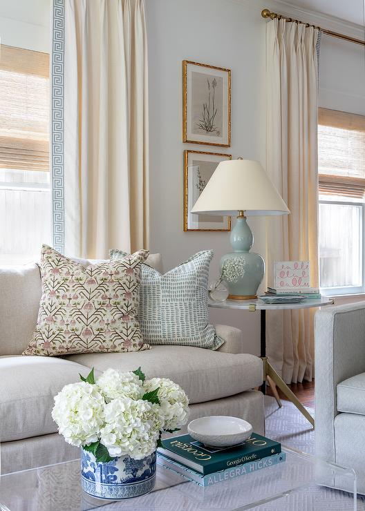 Beige and baby blue living room color scheme