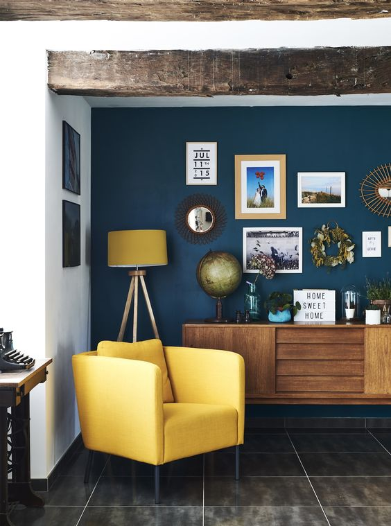 Ocean blue and canary yellow living room color scheme idea