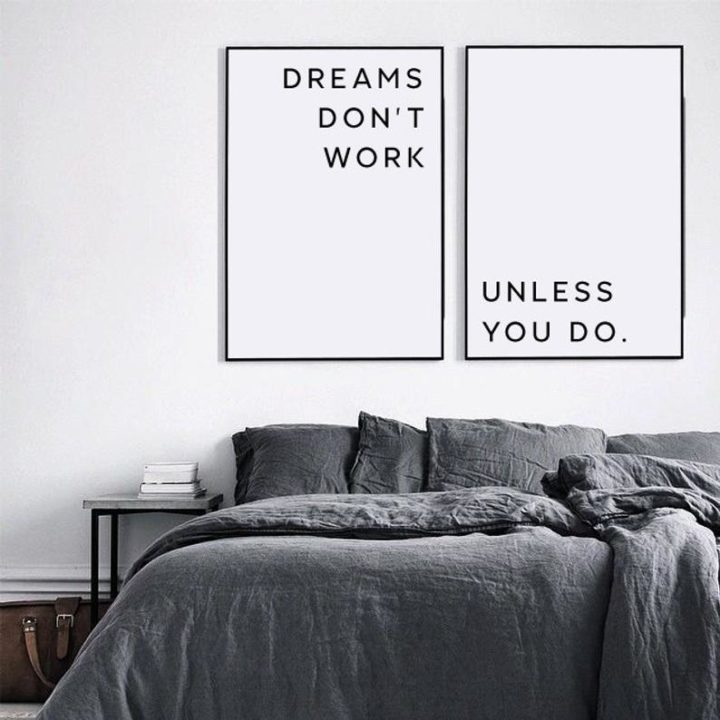 Motivational wall decor, Master bedroom, Dreams Don't Work Unless You Do
